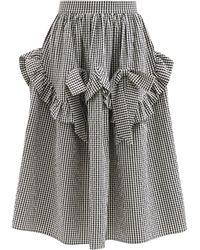 Shrimps Hazel Ruffled Gingham Cotton-blend Midi Skirt - Black