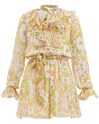 Zimmermann Super Eight Floral-print Silk Playsuit - Multicolour