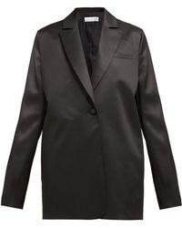 Marina Moscone Blazer en laine mélangée à boutonnage simple - Noir