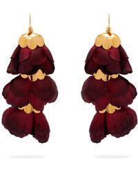 Elise Tsikis - Triple Silk-flower Drop Earrings - Lyst