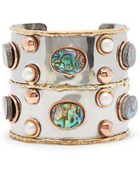 Sylvia Toledano Sea Opal And Pearl Hammered Cuff - Blue