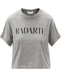 Rodarte T-shirt raccourci en jersey à imprimé Radarte - Gris