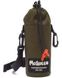 Alexander McQueen グラフィティロゴ キャンバスボトルポーチ - ブラック