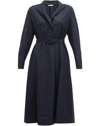 The Row Robe-chemise ceinturée en laine Tula - Bleu
