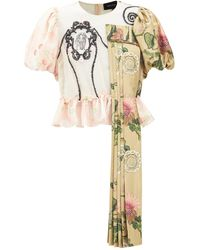 Simone Rocha Puff-sleeve Patchwork Embroidered Tulle Blouse - Multicolour