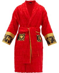 Versace I Love Baroque Logo-jacquard Cotton Bathrobe - Red
