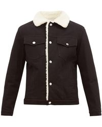 Maison Kitsuné Faux Shearling-lined Denim Jacket - Black