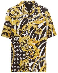 Versace Baroque-print Silk-twill Shirt - Multicolour