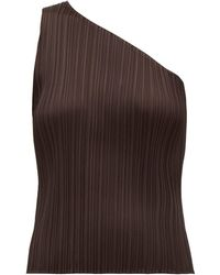 Pleats Please Issey Miyake Pleated One Shouldered Top - Brown