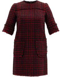 Dolce & Gabbana パッチポケット ツイード シフトドレス - レッド