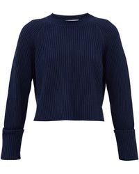 PROENZA SCHOULER WHITE LABEL クロップド リブニットコットンウールセーター - ブルー
