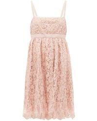 Gucci Logo-waist Floral-lace Babydoll Dress - Pink