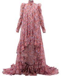 Giambattista Valli Robe de soirée en georgette de soie fleurie - Rose