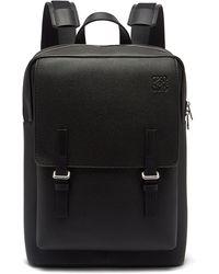 Loewe Military Grained-leather Backpack - Black