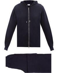 Johnstons of Elgin Pull et pantalon de jogging en laine à capuche - Bleu