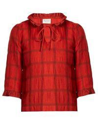 Cecilie Copenhagen - Tie-neck Cotton And Linen-blend Checked Top - Lyst