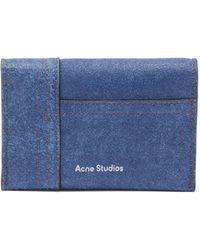 Acne Studios Patchwork Suede Denim Cardholder - Blue