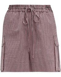 Ganni Striped Cotton-blend Seersucker Shorts - Pink