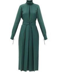 Victoria Beckham - フロントスリット サテンツイルドレス - Lyst