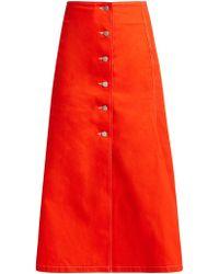 Awake - Buttoned Cotton Skirt - Lyst