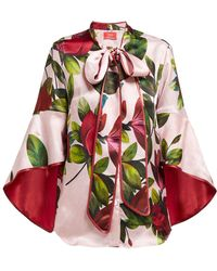 F.R.S For Restless Sleepers Acli Magnolia Print Satin Twill Blouse - Pink