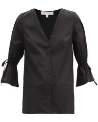Carolina Herrera フルートスリーブ コットンポプリンシャツ - ブラック