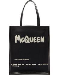 Alexander McQueen グラフィティロゴ キャンバス&レザートートバッグ - ブラック