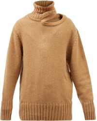 Y. Project Cutout Roll-neck Oversized Knit Jumper - Natural