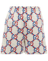Gucci Gg Logo Jacquard Bouclé Tweed Shorts - White