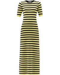 Bella Freud Cher Striped Cotton-blend Maxi Dress - Yellow