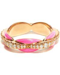 Melissa Kaye - Bague en or rose 18 carats, diamants et émail Ada - Lyst
