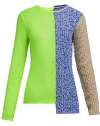 Maison Margiela Spliced Panel Knit Sweater - Green