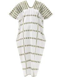 Pippa Holt No.256 Embroidered Cotton Kaftan - White