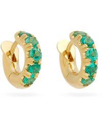 Spinelli Kilcollin Macro Mini Emerald & 18kt Gold Huggie Earrings - Metallic