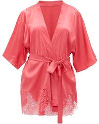 Fleur Of England - Camellia Silk-blend Charmeuse Robe - Lyst