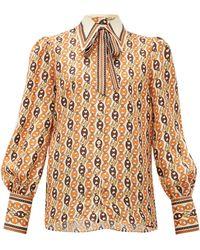Gucci Neck-tie Chain-print Silk Blouse - Orange