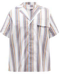 Bianca Saunders Cuban-collar Striped Cotton-blend Poplin Shirt - Multicolour