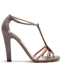 Valentino - Love Blade Suede And Patent-leather Sandals - Lyst