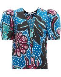RHODE Nisha Puff-sleeve Cotton-poplin Top - Blue