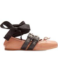 Miu Miu - Buckle-fastening Leather Ballet Flats - Lyst