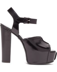 Givenchy Topstitched Patent-leather Platform Sandals - Black