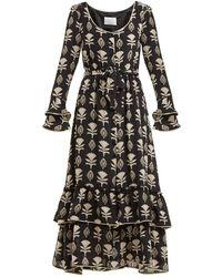 Athena Procopiou フローラルプリント シルクドレス - ブラック
