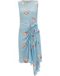 Preen Line Antoinette ラッフル フローラルプリント クレープドレス - ブルー