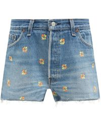 RE/DONE The Short Floral-embroidered Shorts - Blue