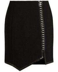 Mugler - Leather-trimmed Wool Mini Skirt - Lyst