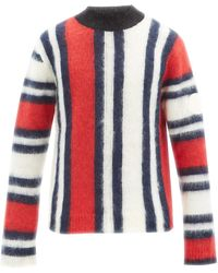2 Moncler 1952 Intarsia-striped Mohair-blend Sweater - Red