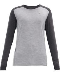 Norrøna Logo-embroidered Wool-blend Long-sleeved T-shirt - Gray