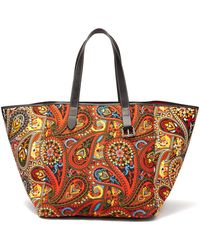 JW Anderson - Belt-strap Paisley-print Leather-trimmed Tote - Lyst