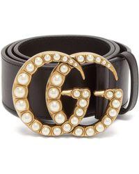 59c19af3d Gucci Gg-logo 2cm Leather Belt in Black - Lyst