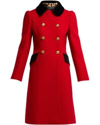 Dolce & Gabbana - Contrast-collar Double-breasted Wool-blend Coat - Lyst
